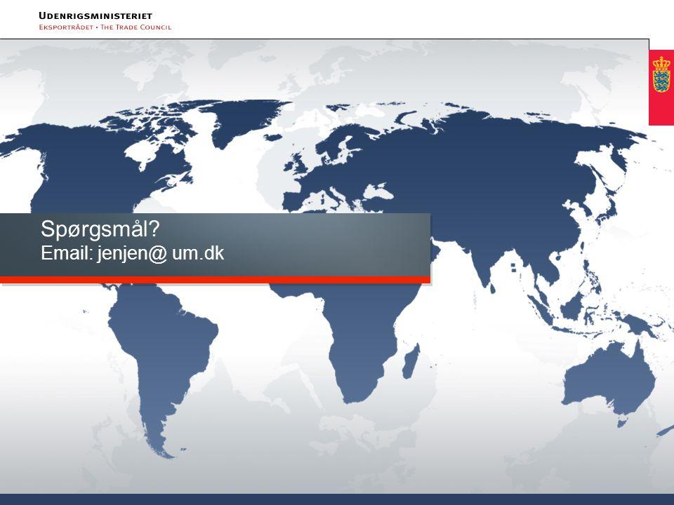 Spørgsmål Email: jenjen@ um.dk
