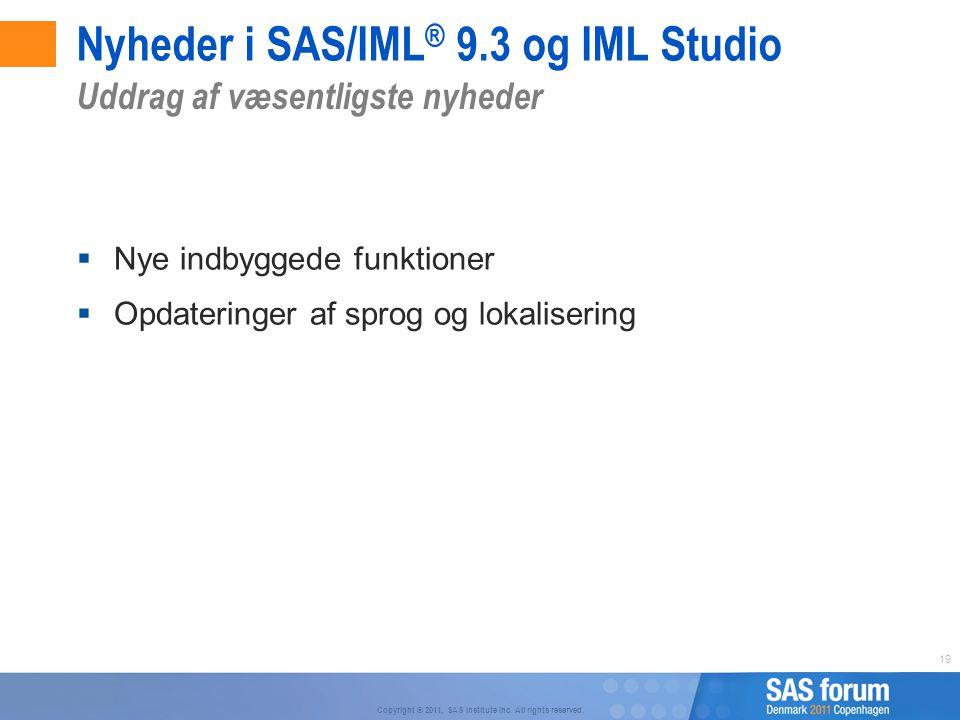 Nyheder i SAS/IML® 9.3 og IML Studio