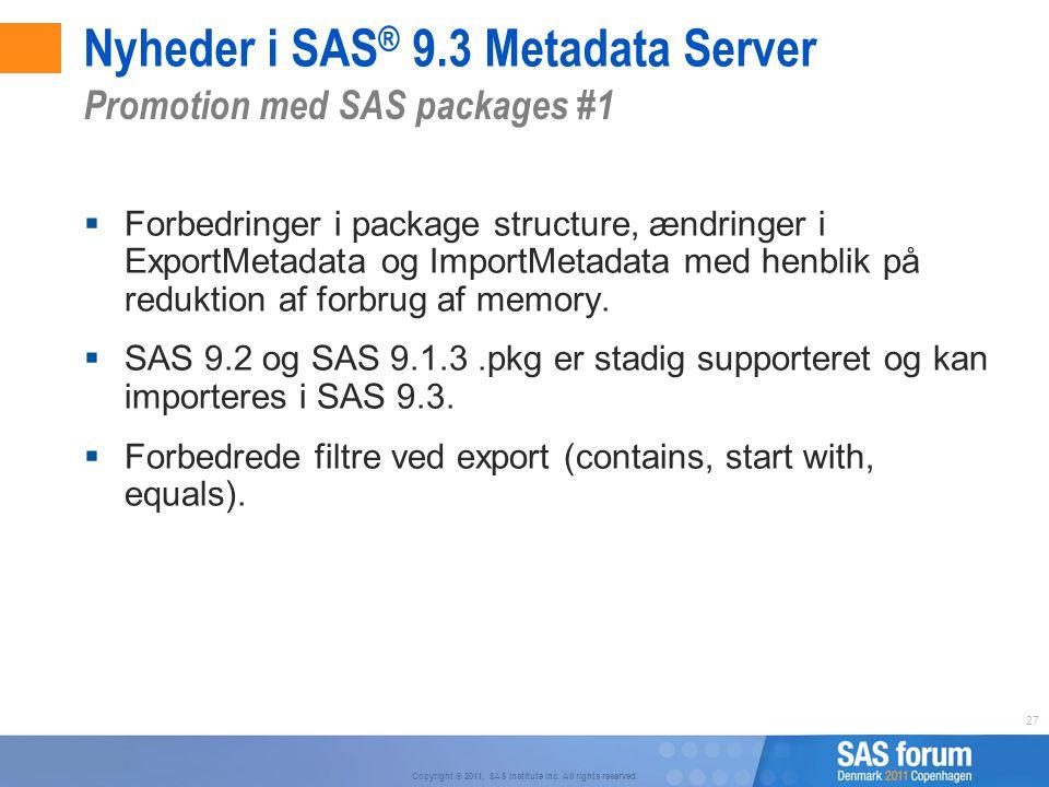 Nyheder i SAS® 9.3 Metadata Server