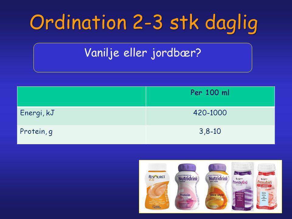 Ordination 2-3 stk daglig