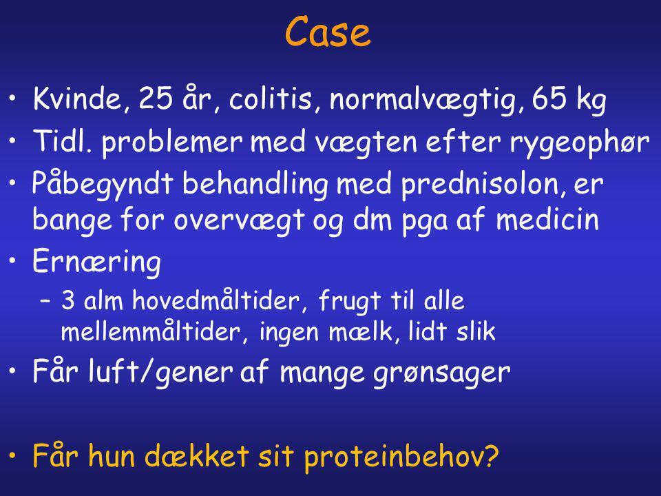 Case Kvinde, 25 år, colitis, normalvægtig, 65 kg