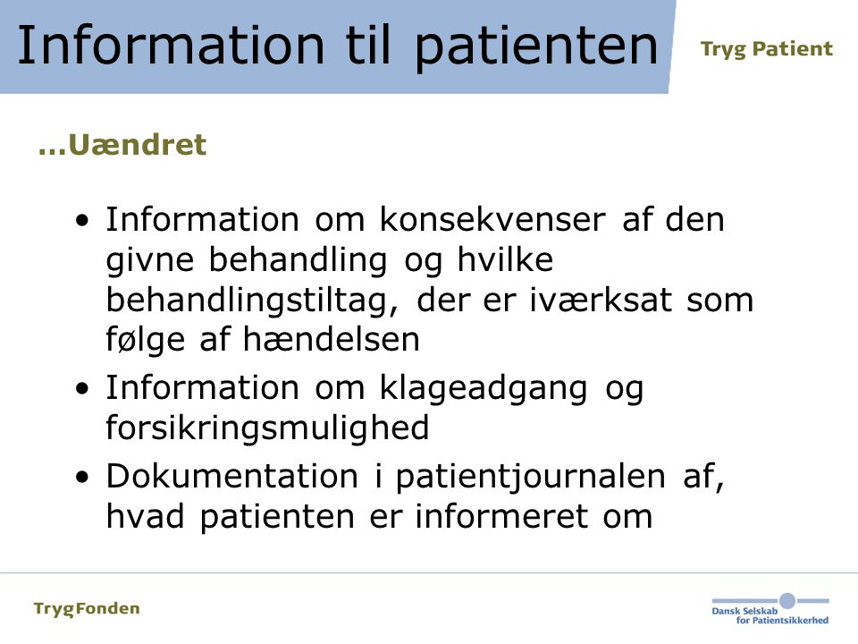 Information til patienten