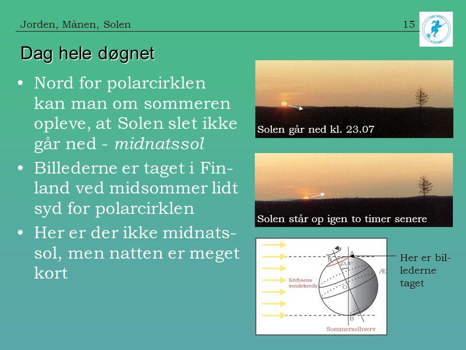 Jorden, Månen, Solen Dag hele døgnet. Nord for polarcirklen kan man om sommeren opleve, at Solen slet ikke går ned - midnatssol.