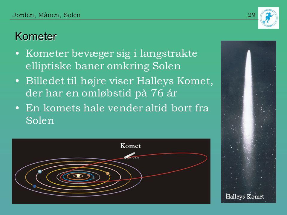 Jorden, Månen, Solen Kometer. Kometer bevæger sig i langstrakte elliptiske baner omkring Solen.