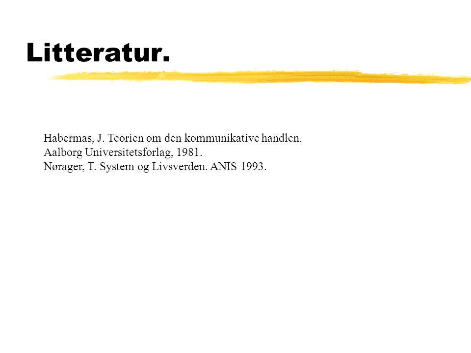 Litteratur. Habermas, J. Teorien om den kommunikative handlen.