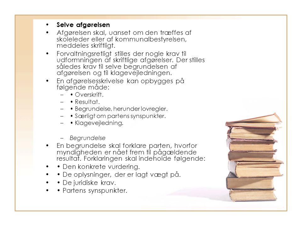 En afgørelsesskrivelse kan opbygges på følgende måde: