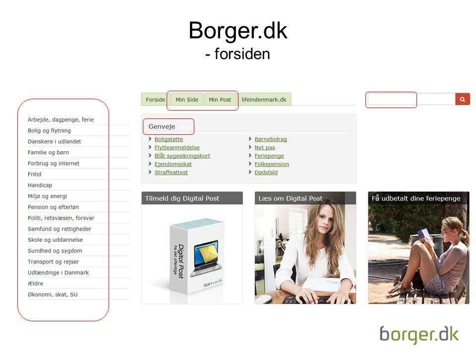 Borger.dk - forsiden - Dette er forsiden af hjemmesiden borger.dk. Det er primært her, at borgerne kommunikerer digitalt med det offentlige.