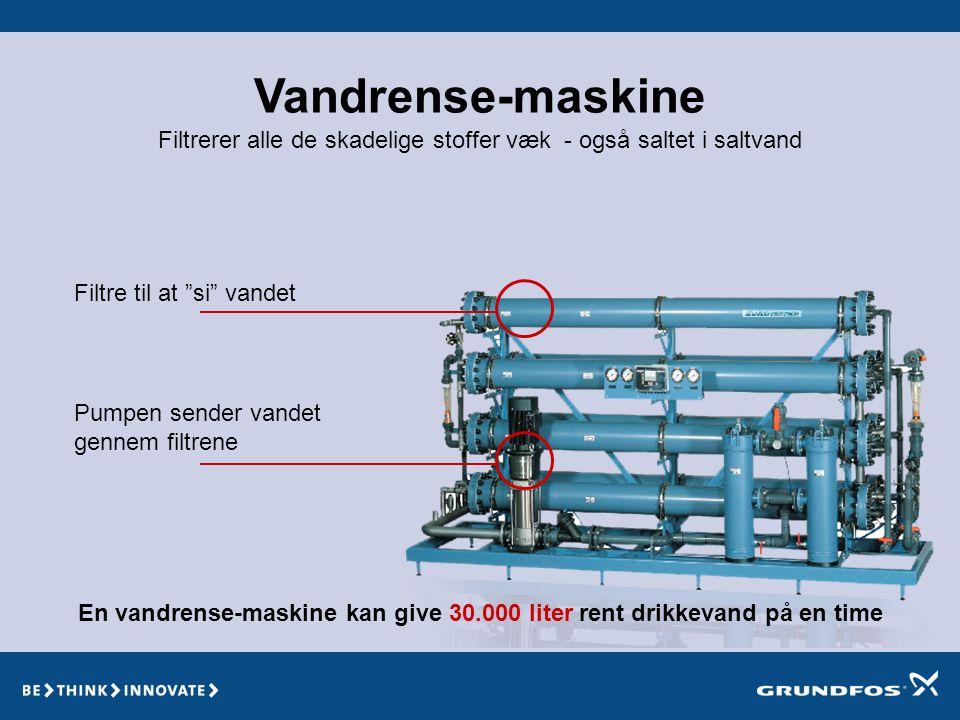 En vandrense-maskine kan give 30.000 liter rent drikkevand på en time