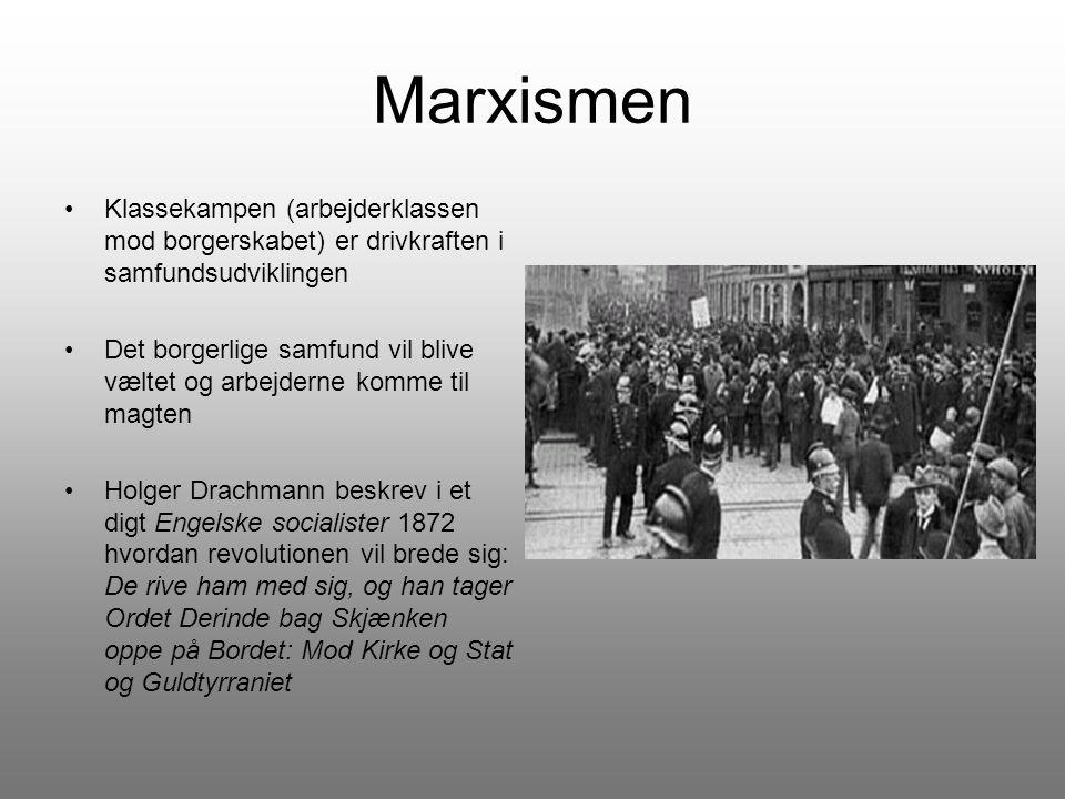Marxismen Klassekampen (arbejderklassen mod borgerskabet) er drivkraften i samfundsudviklingen.