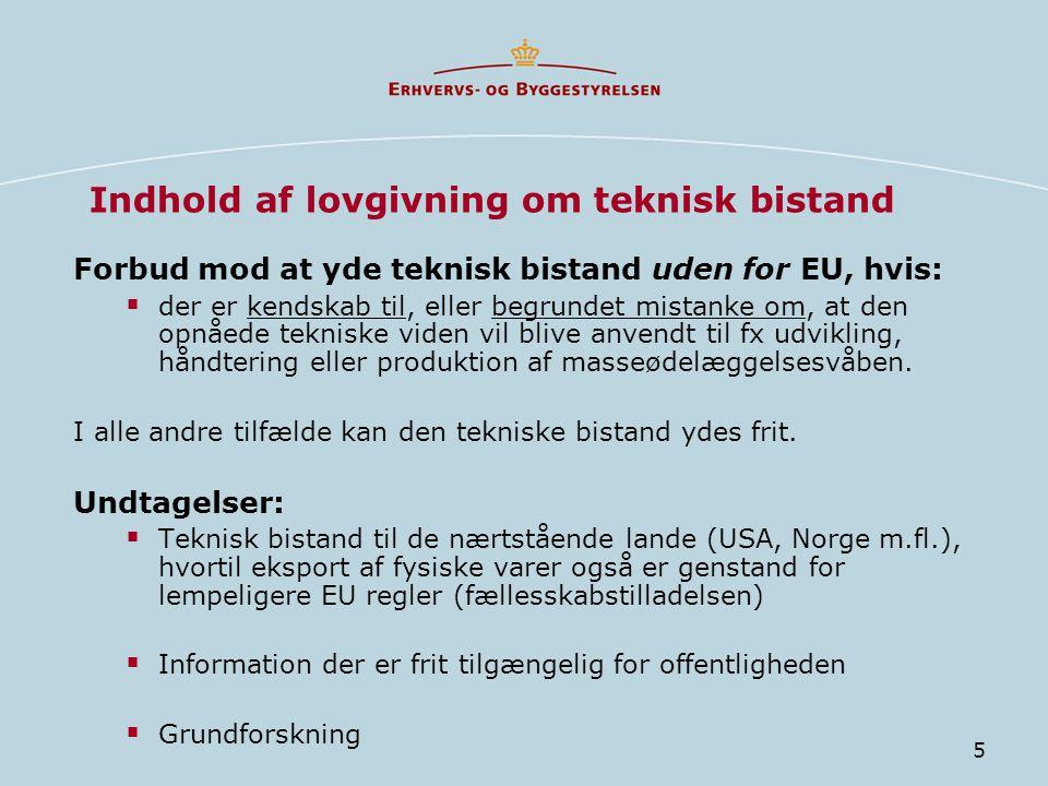 Indhold af lovgivning om teknisk bistand