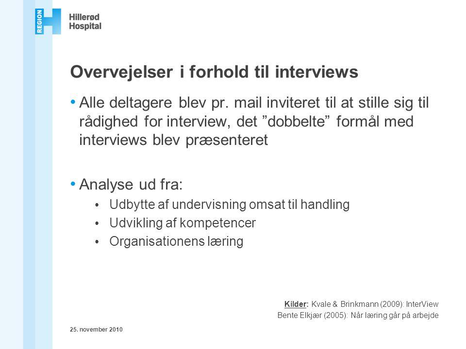 Overvejelser i forhold til interviews