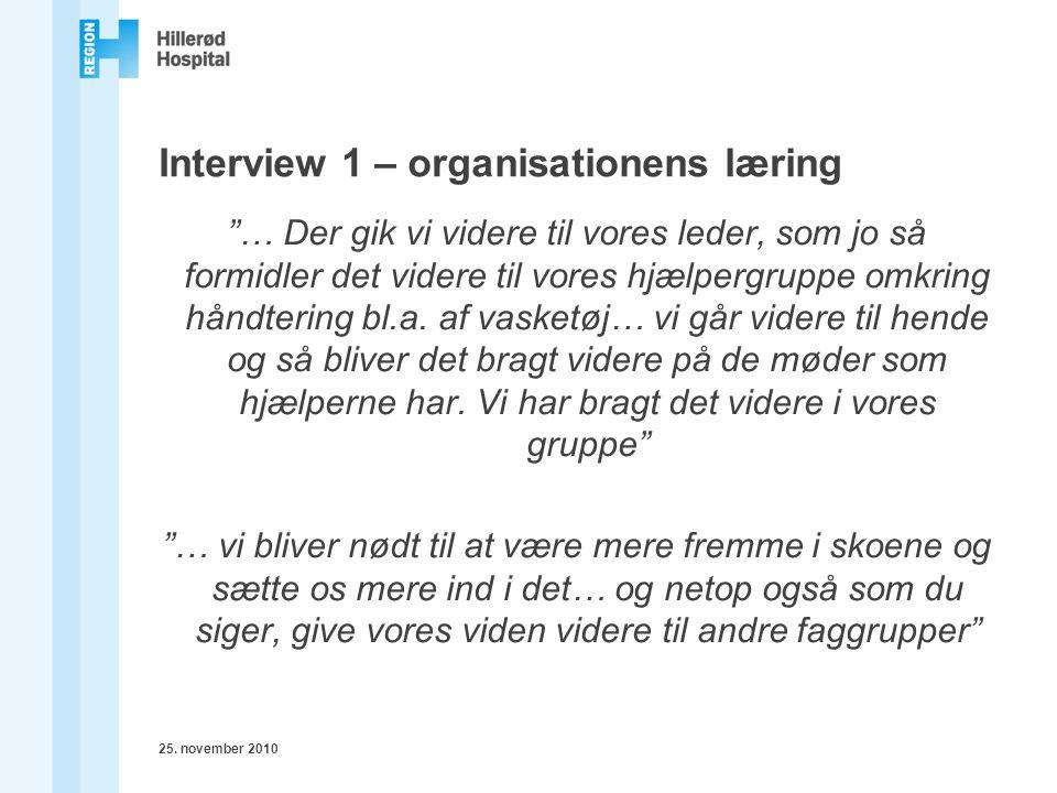Interview 1 – organisationens læring