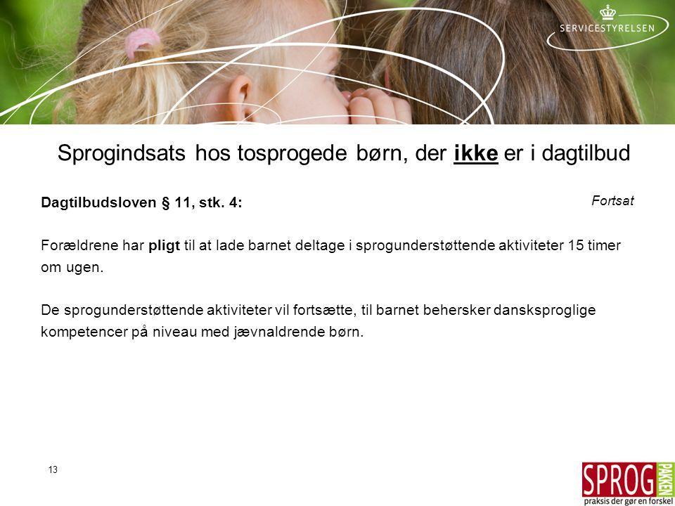 Sprogindsats hos tosprogede børn, der ikke er i dagtilbud