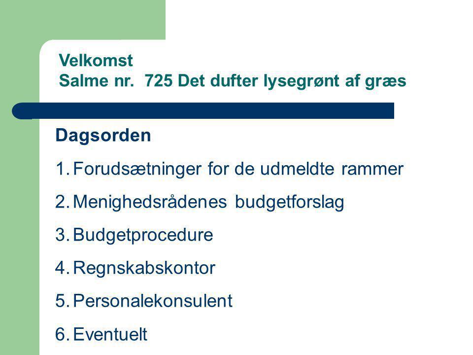 Forudsætninger for de udmeldte rammer Menighedsrådenes budgetforslag