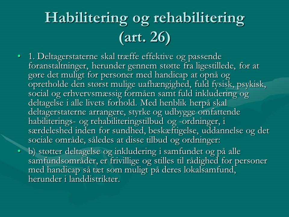 Habilitering og rehabilitering (art. 26)