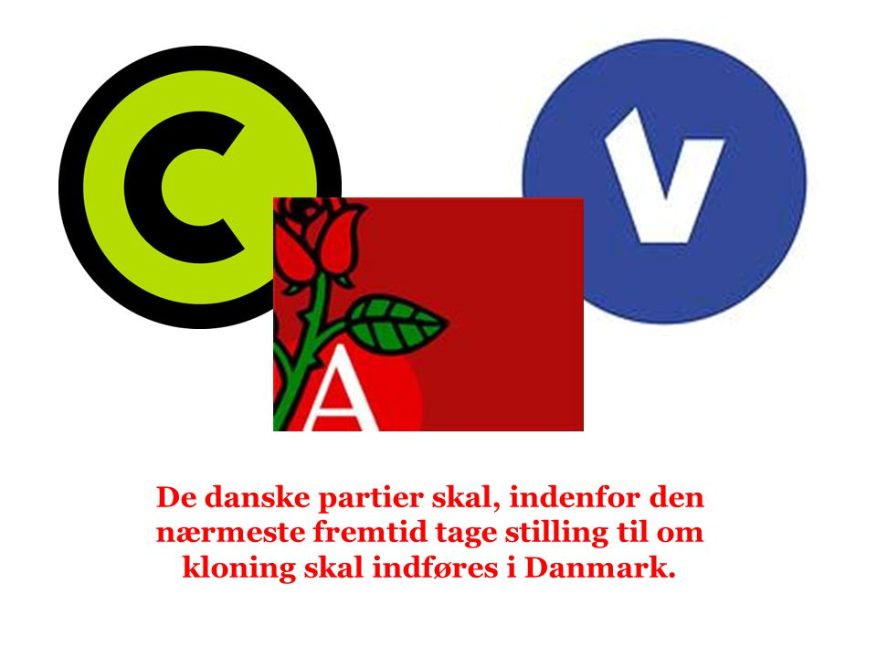 De danske partier skal, indenfor den nærmeste fremtid tage stilling til om kloning skal indføres i Danmark.