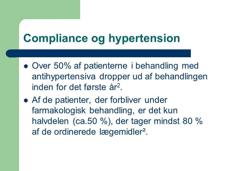 Compliance og hypertension
