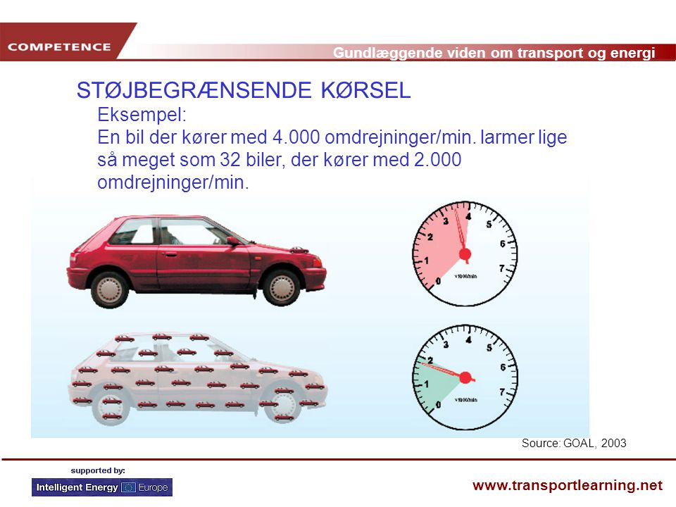 STØJBEGRÆNSENDE KØRSEL Eksempel: En bil der kører med 4