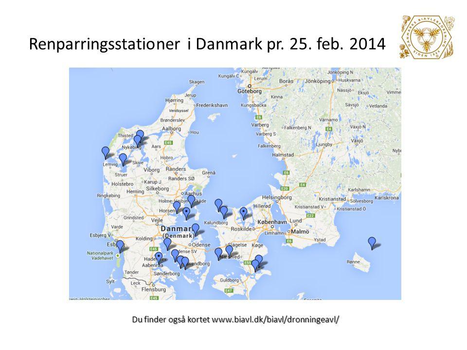 Renparringsstationer i Danmark pr. 25. feb. 2014