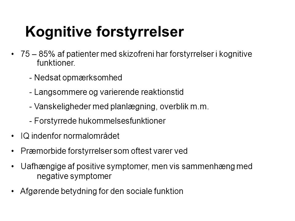 Kognitive forstyrrelser