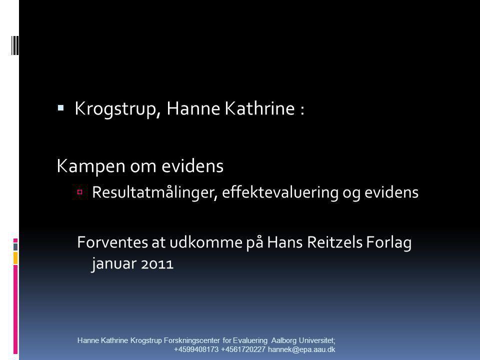 Krogstrup, Hanne Kathrine : Kampen om evidens