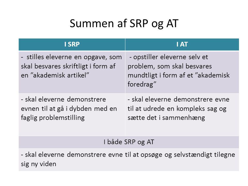 Summen af SRP og AT I SRP I AT