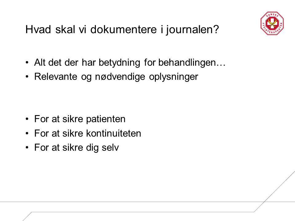 Hvad skal vi dokumentere i journalen