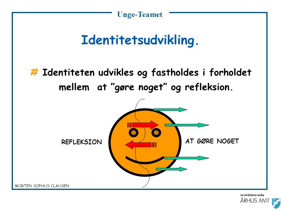 Unge-Teamet Identitetsudvikling. # Identiteten udvikles og fastholdes i forholdet mellem at gøre noget og refleksion.