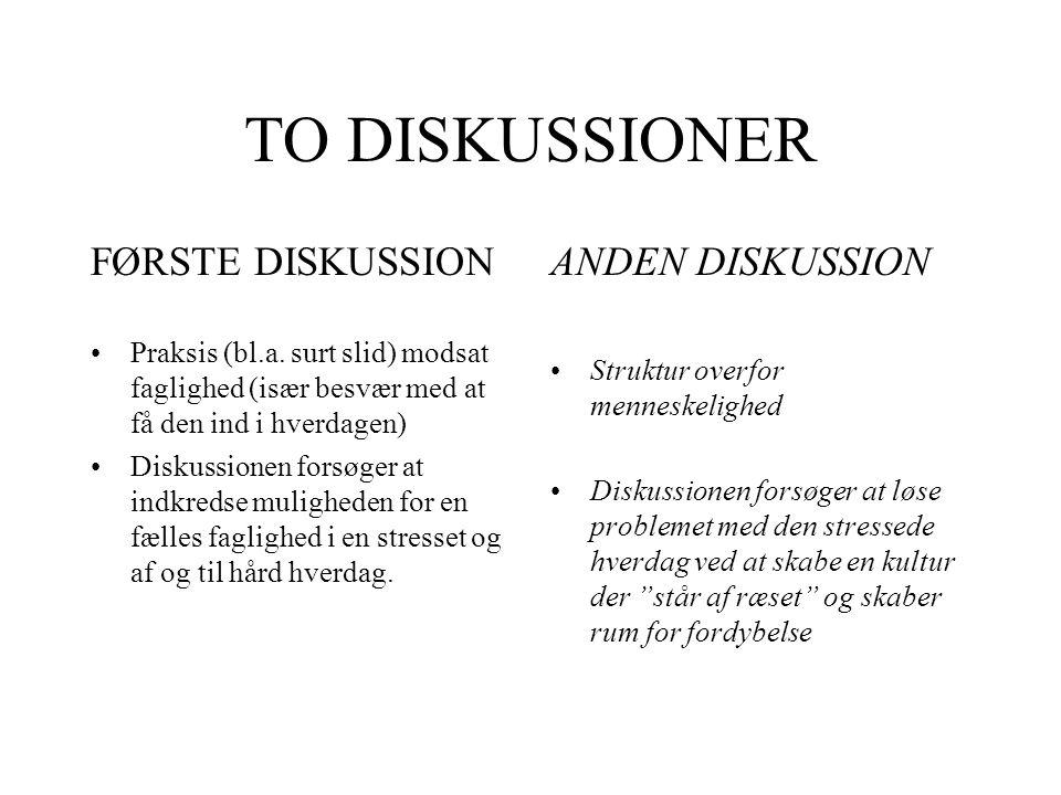 TO DISKUSSIONER FØRSTE DISKUSSION ANDEN DISKUSSION