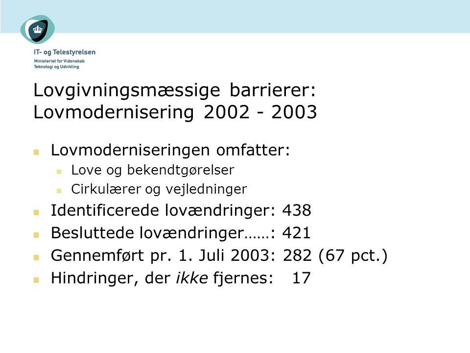 Lovgivningsmæssige barrierer: Lovmodernisering 2002 - 2003