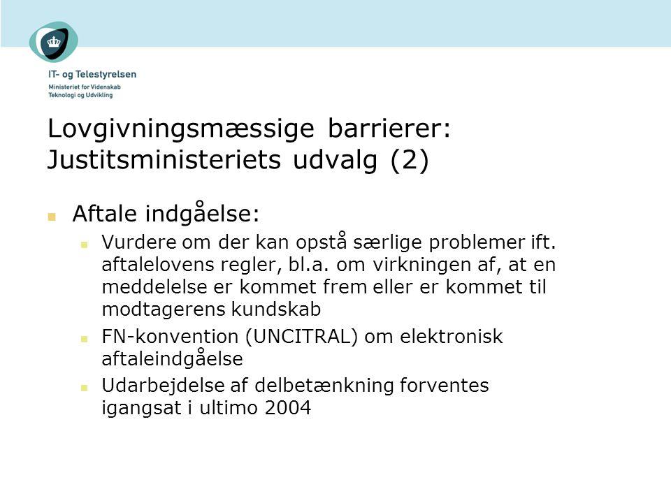 Lovgivningsmæssige barrierer: Justitsministeriets udvalg (2)