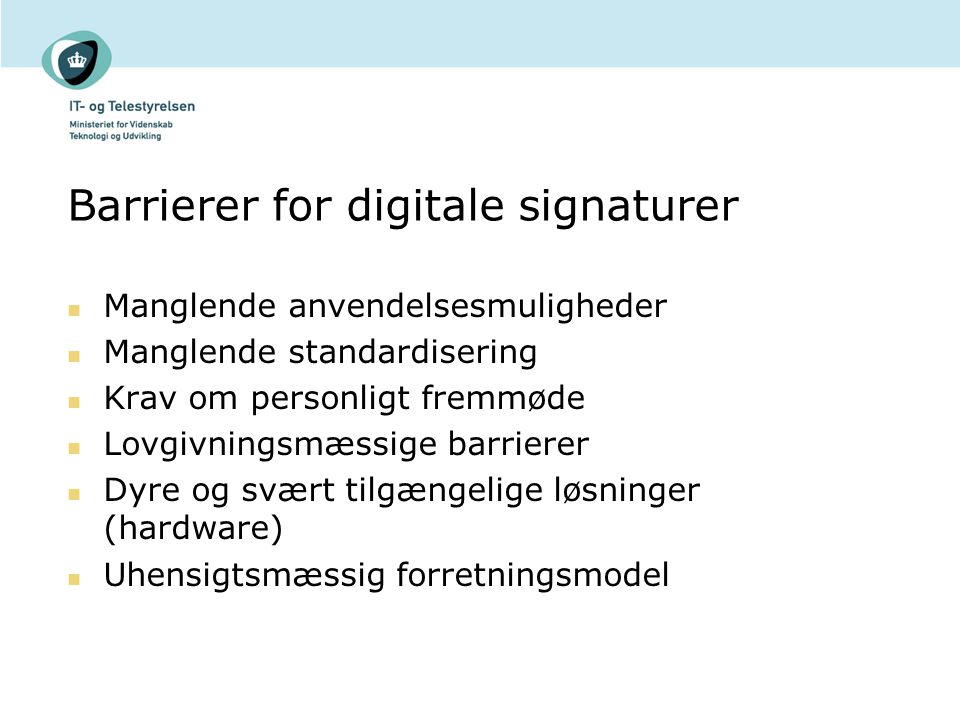 Barrierer for digitale signaturer