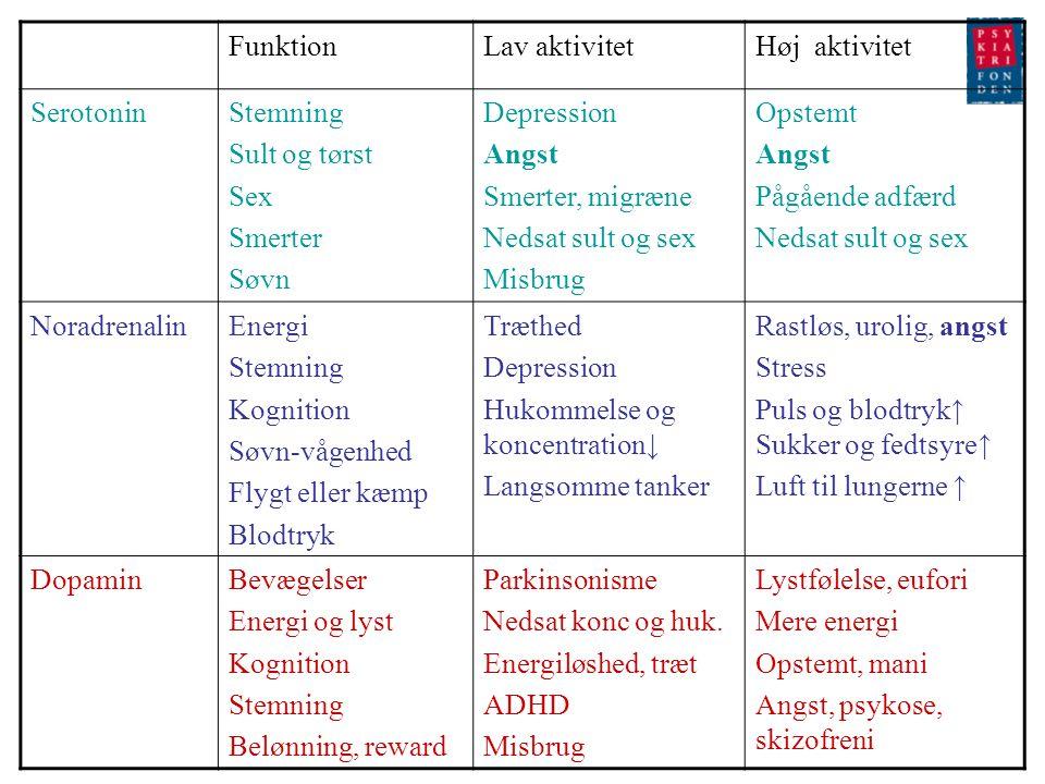 Funktion Lav aktivitet. Høj aktivitet. Serotonin. Stemning. Sult og tørst. Sex. Smerter. Søvn.
