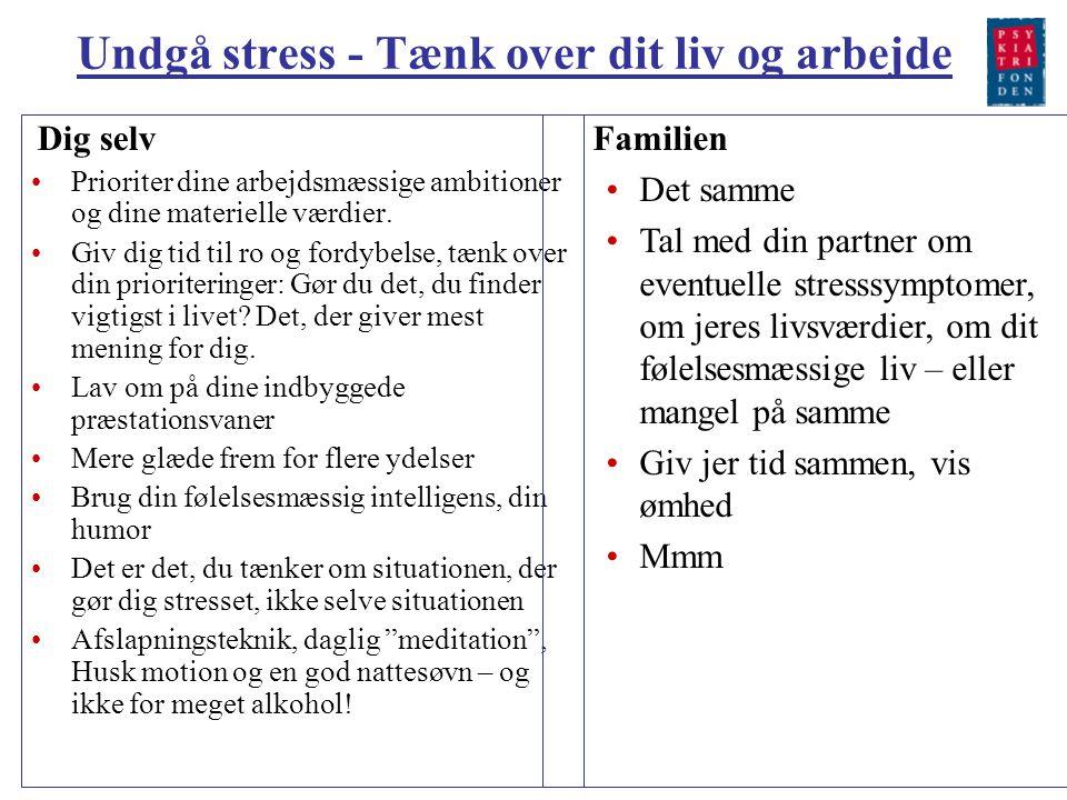 Undgå stress - Tænk over dit liv og arbejde
