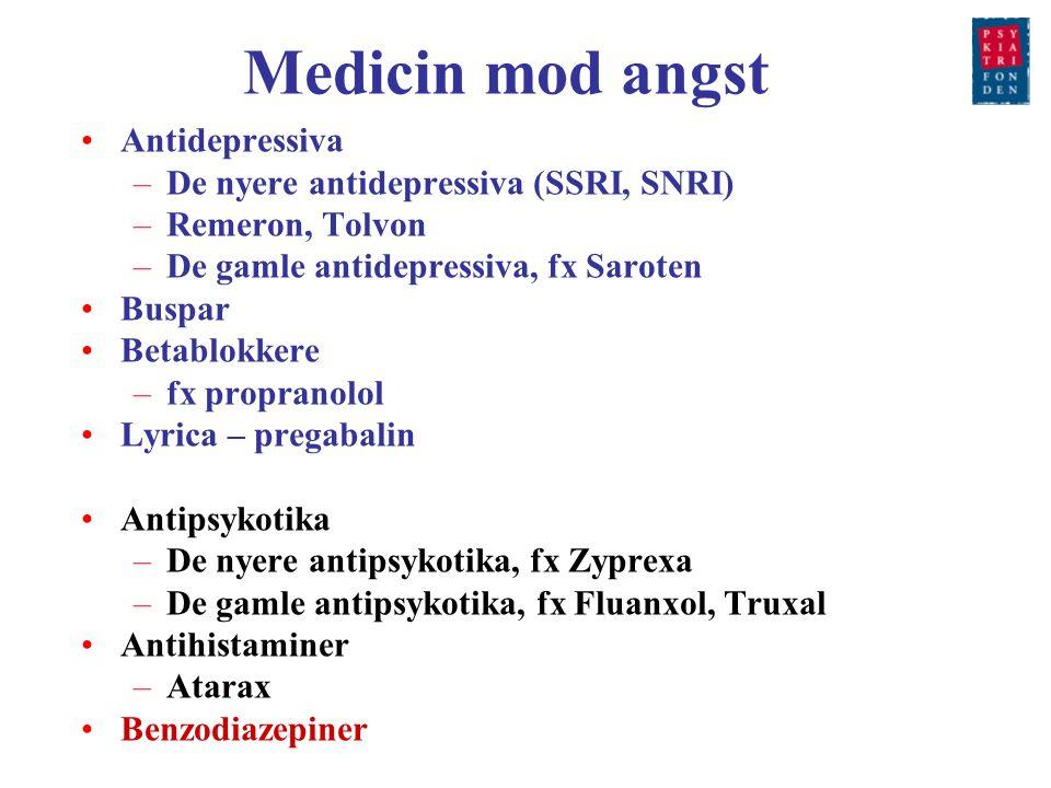 Medicin mod angst Antidepressiva De nyere antidepressiva (SSRI, SNRI)