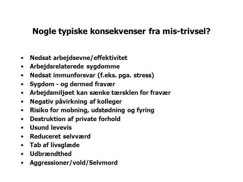 Nogle typiske konsekvenser fra mis-trivsel