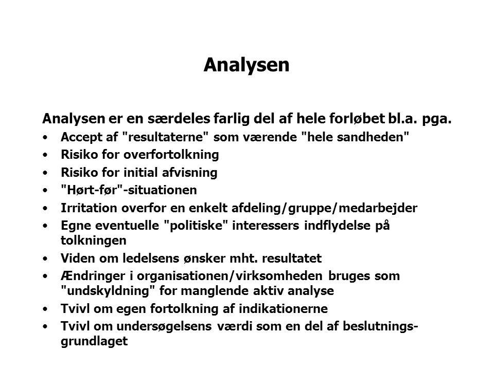 Analysen Analysen er en særdeles farlig del af hele forløbet bl.a. pga. Accept af resultaterne som værende hele sandheden