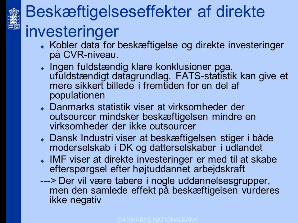 Beskæftigelseseffekter af direkte investeringer