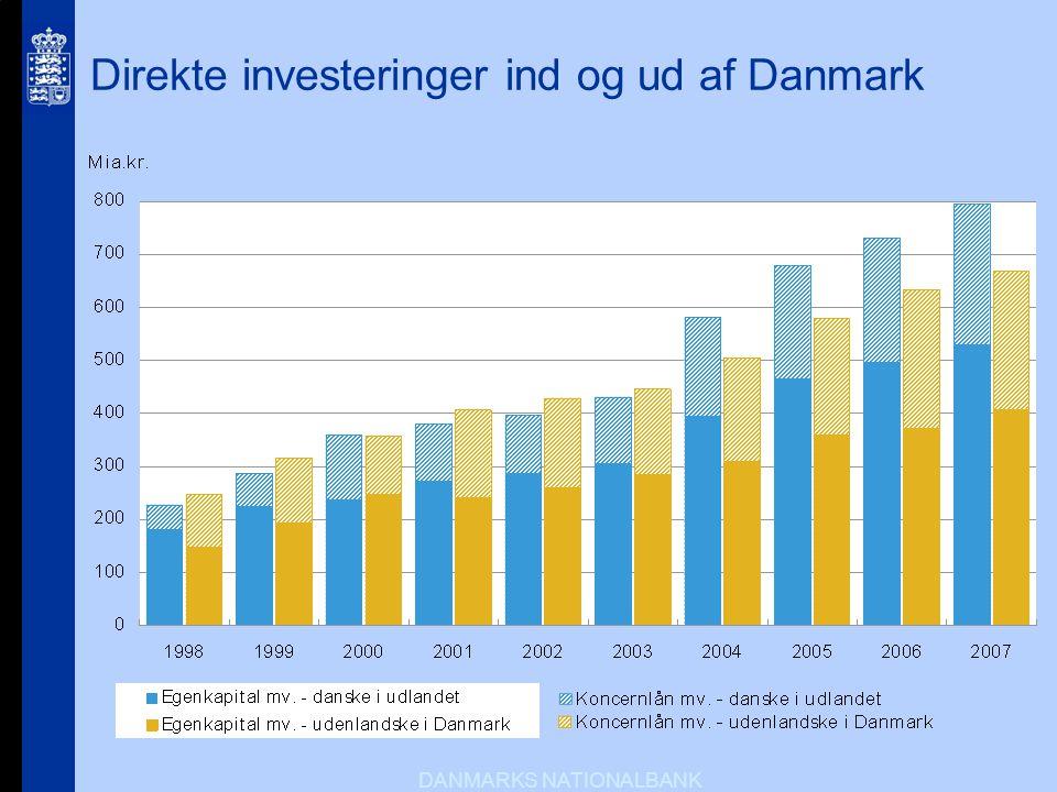 Direkte investeringer ind og ud af Danmark