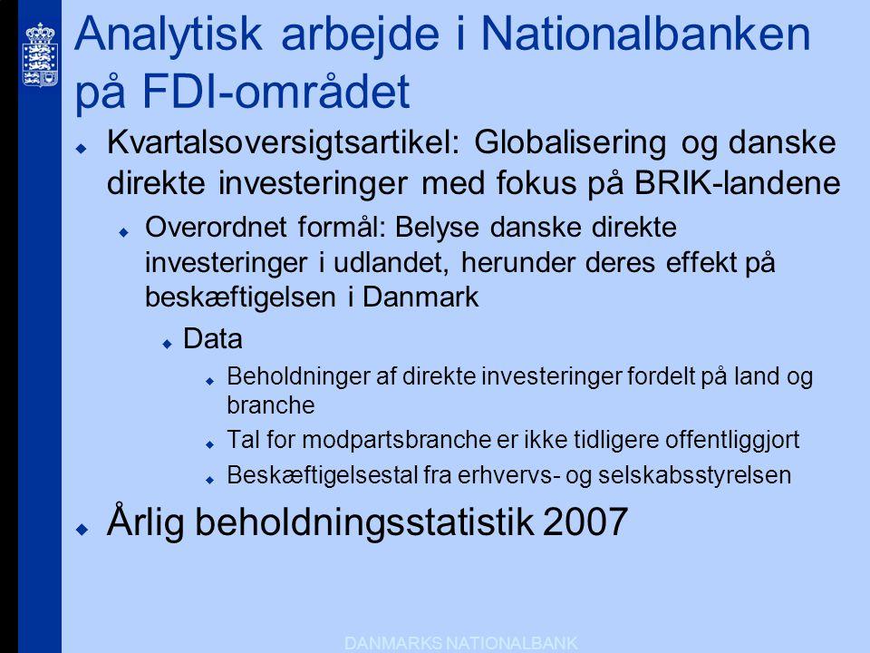Analytisk arbejde i Nationalbanken på FDI-området
