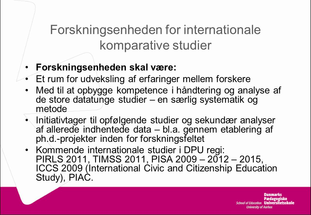 Forskningsenheden for internationale komparative studier