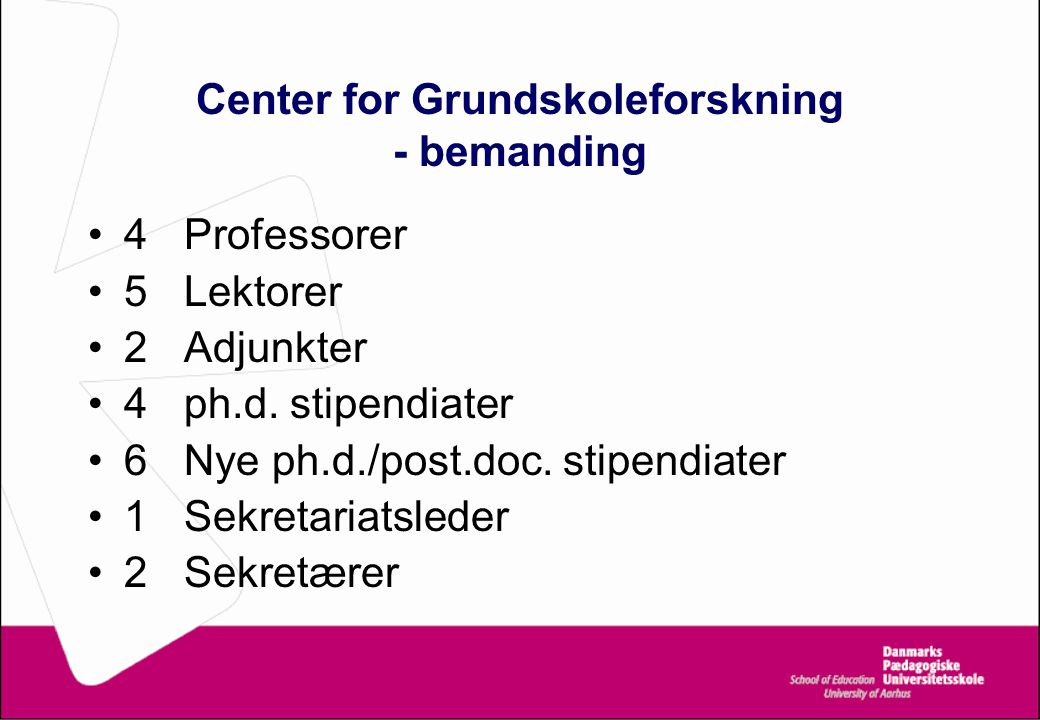 Center for Grundskoleforskning - bemanding