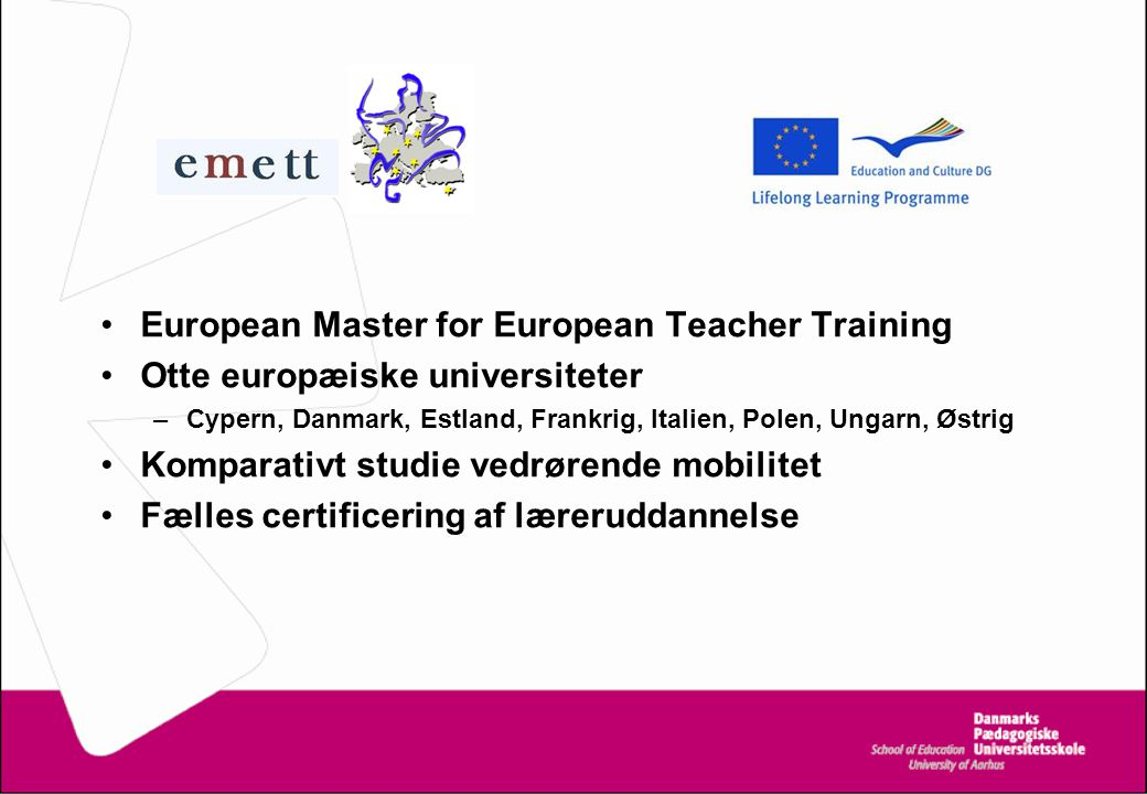 European Master for European Teacher Training