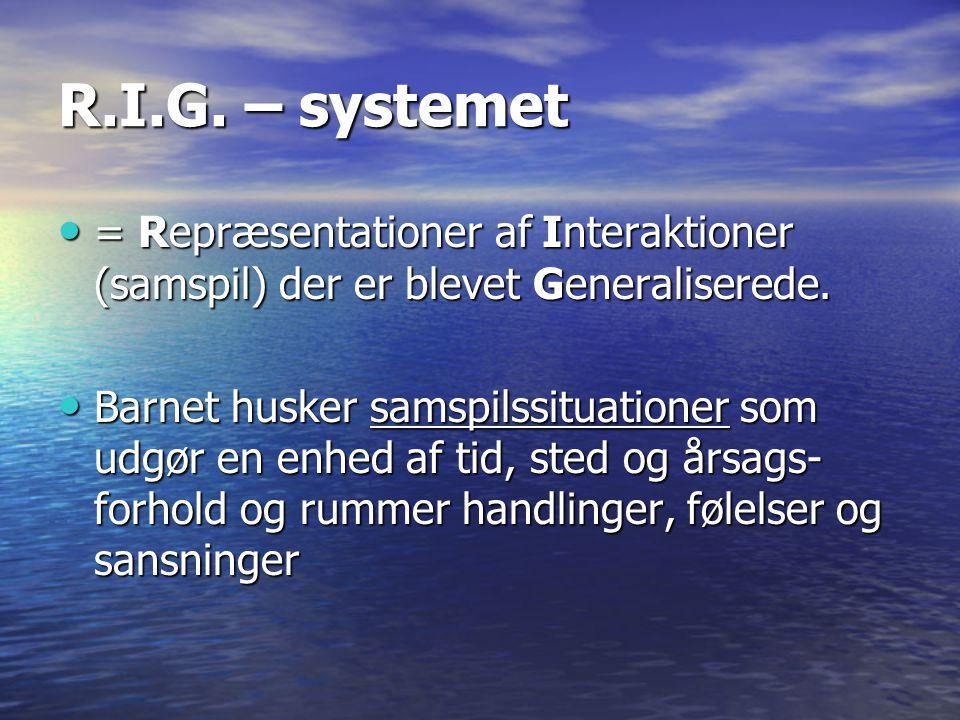 R.I.G. – systemet = Repræsentationer af Interaktioner (samspil) der er blevet Generaliserede.