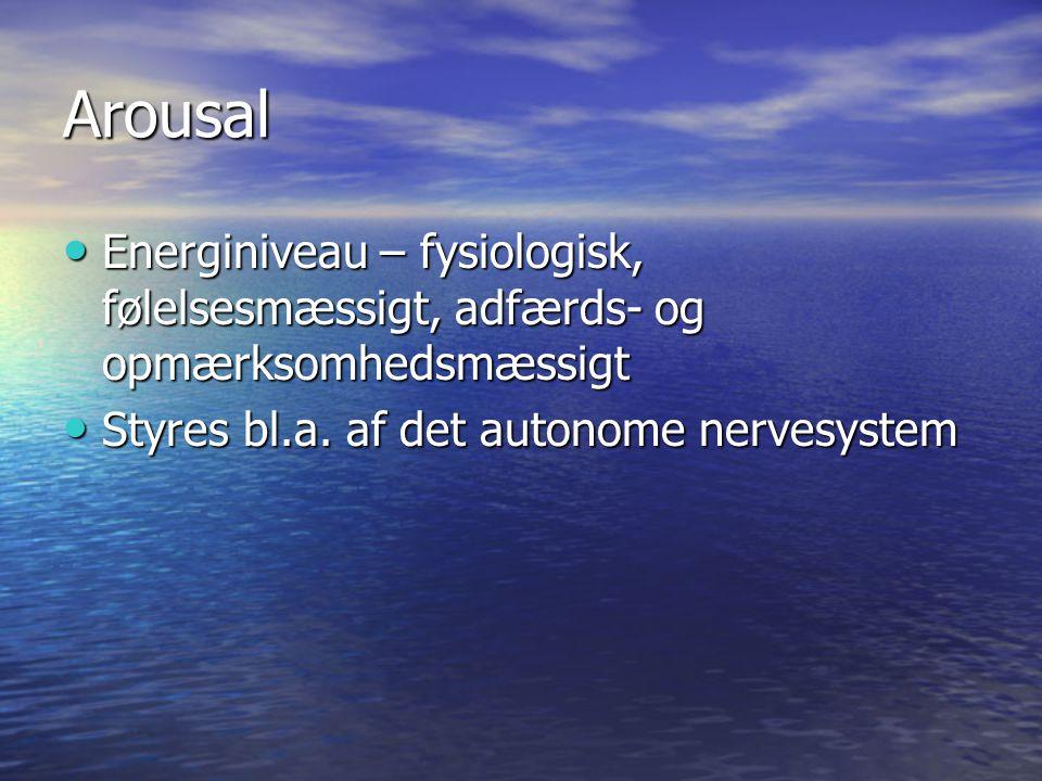 Arousal Energiniveau – fysiologisk, følelsesmæssigt, adfærds- og opmærksomhedsmæssigt.