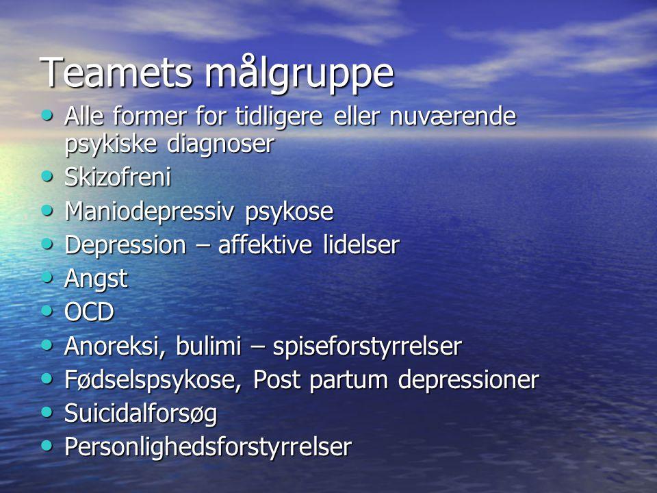 Teamets målgruppe Alle former for tidligere eller nuværende psykiske diagnoser. Skizofreni. Maniodepressiv psykose.