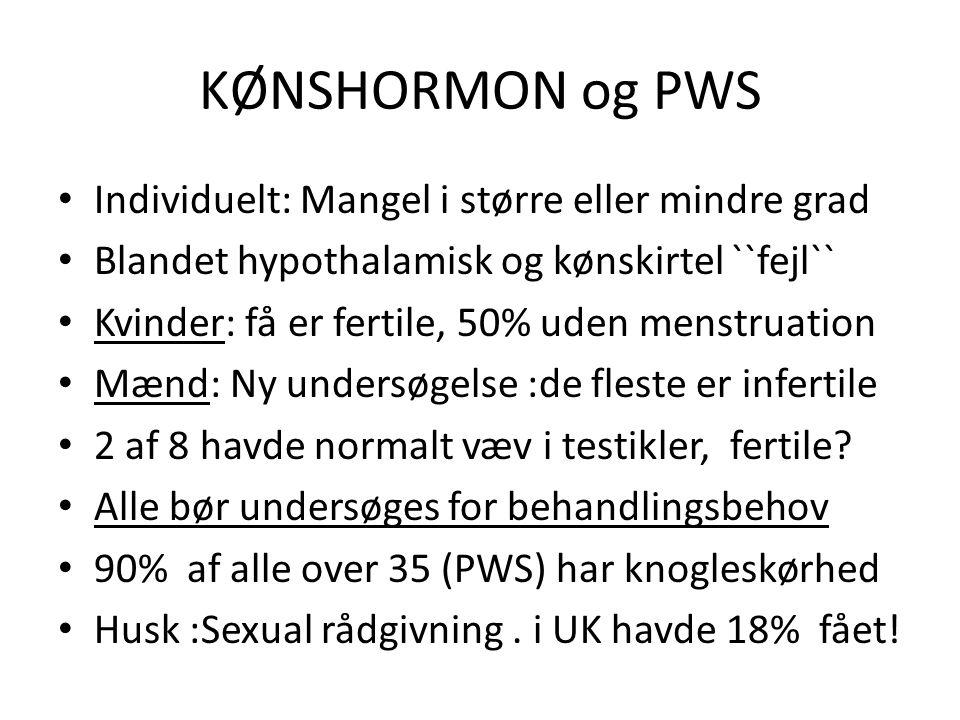 KØNSHORMON og PWS Individuelt: Mangel i større eller mindre grad