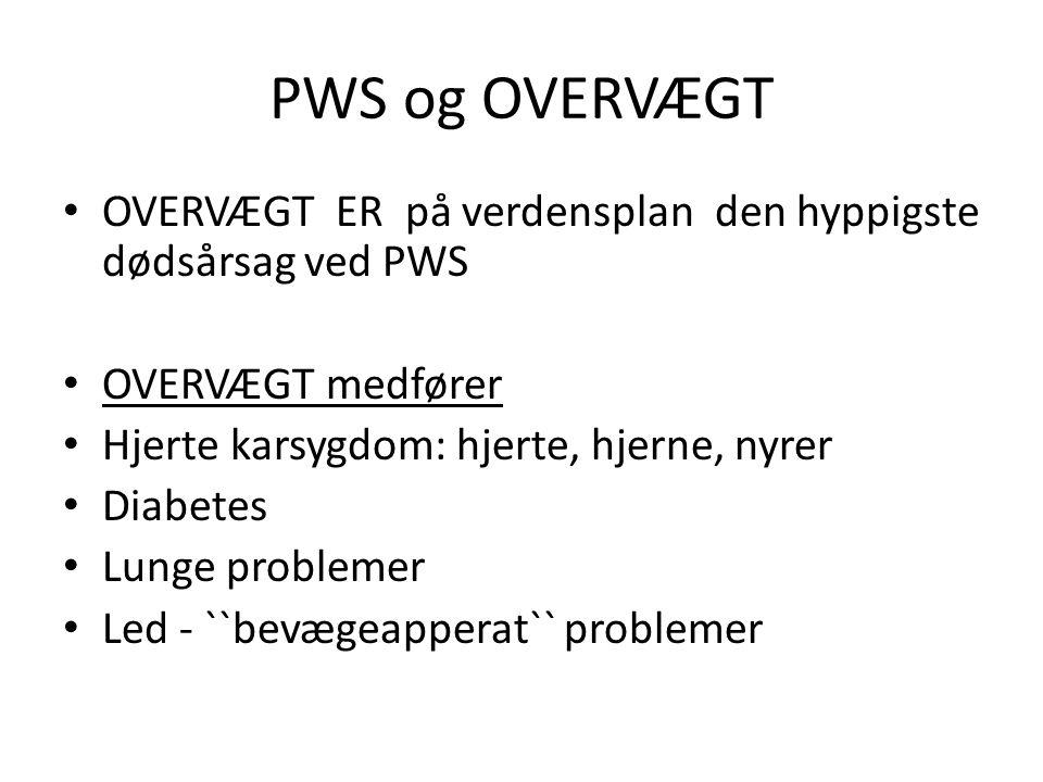 PWS og OVERVÆGT OVERVÆGT ER på verdensplan den hyppigste dødsårsag ved PWS. OVERVÆGT medfører. Hjerte karsygdom: hjerte, hjerne, nyrer.