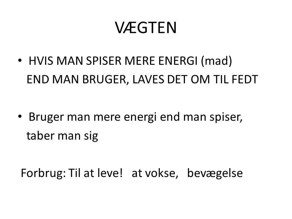 VÆGTEN HVIS MAN SPISER MERE ENERGI (mad)