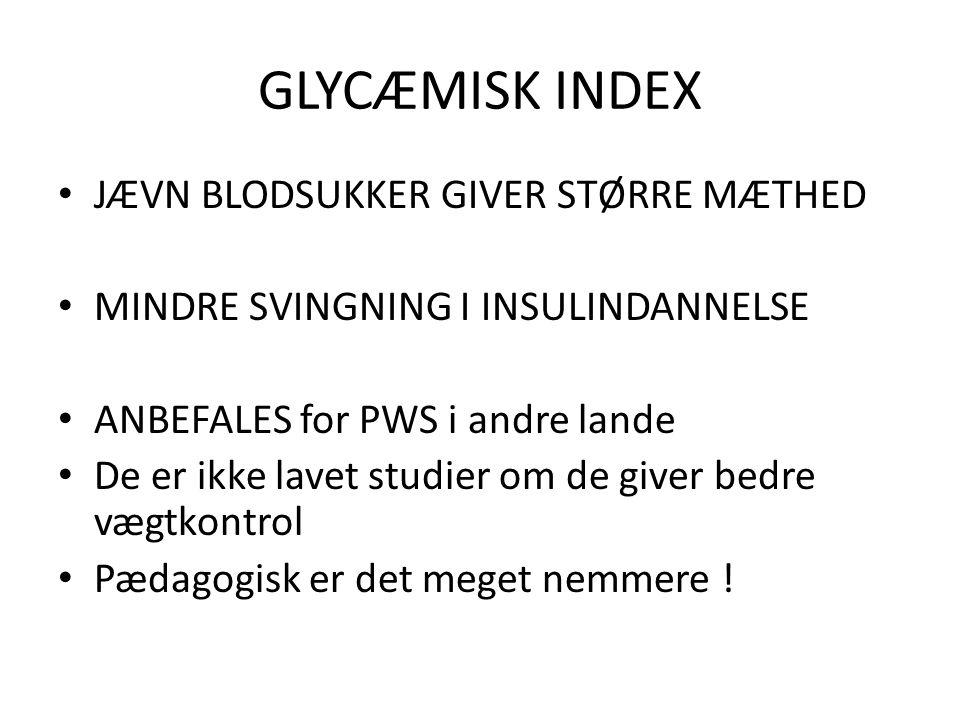 GLYCÆMISK INDEX JÆVN BLODSUKKER GIVER STØRRE MÆTHED